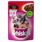 WHISKAS Junior Pokarm dla Kotów z Wołowiną w Sosie 100g