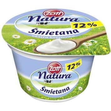 Zott Natura - Śmietana ekstra kremowa 12%, 180 g. Wyprodukowana z naturalnych składników.
