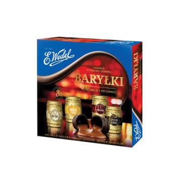 Bombonierka Baryłki – Wedel to czekoladki z alkoholowym nadzieniem o czterech smakach.