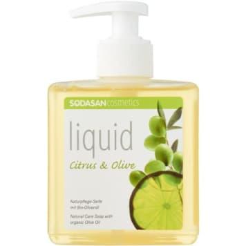 Mydło cytrusowo-oliwkowe w płynie, 300 ml – Sodasan. Łatwe w użyciu, w pełni ekologiczne.
