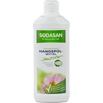 Płyn do naczyń do skóry delikatnej Bio Sodasan zawiera wyłącznie składniki pochodzenia naturalnego.