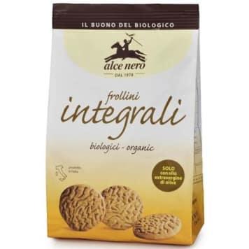 Organiczne Herbatniki Pełnoziarniste Alce Nero zawierają bogatą w błonnik mąkę pełnoziarnistą.