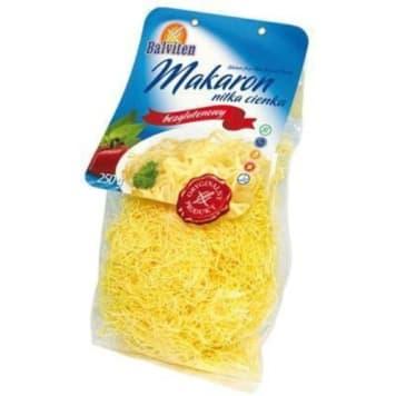 Bezglutenowy makaron nitki-Balviten. Dla osób, które nie mogą spożywać produktów białkowych.