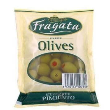 Oliwki zielone z papryką (torba) 200g - Fragata. Pyszny dodatek do wielu potraw.