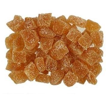 Imbir kandyzowany. Specyficzny smak z odświeżająca, słodkawą nutą.
