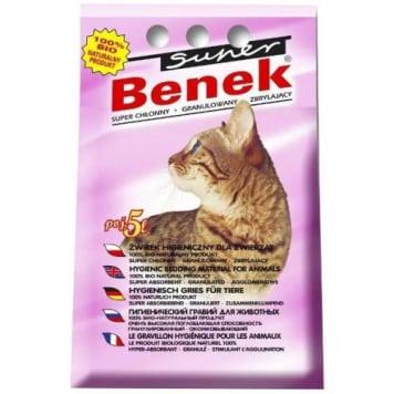 Żwirek uniwersalny lawendowy – Super Benek. Zawiera kompozycje lawendy, uspokajający zapach