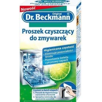 Proszek czyszczący do zmywarek Dr. Beckmann usuwa zabrudzenia, osady i nieprzyjemne zapachy.