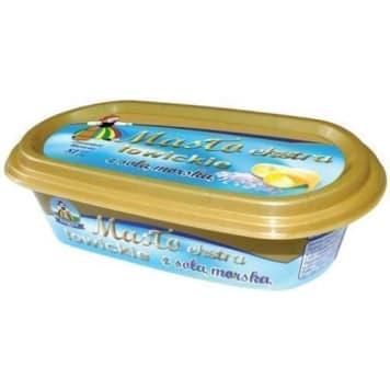 Masło łowickie z solą morską – OSM Łowicz. Cechuje się niepowtarzalnym i oryginalnym smakiem.