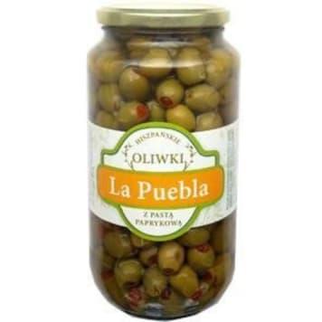 Oliwki zielone z papryką - LA PUEBLA. Nadziewane pastą paprykową. Idealne do sałatek i dań ciepłych.