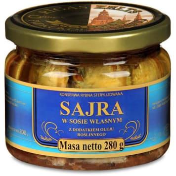 Sajra w sosie własnym - Petropat 280 g. Wyrazista w smaku ryba przypominająca wyglądem makrelę.