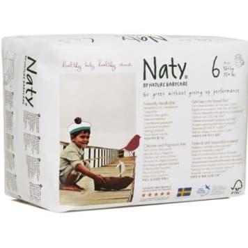 Ekologiczne Pieluchomajtki powyżej 16 kg – Naty są wyjątkowo chłonne i nie zawierają czynników podrażniających skórę.