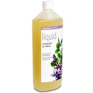 Lawendowo-oliwkowe mydło w płynie Bio - Sodasan. Naturalny produkt do codziennej pielęgnacji.