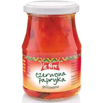 Grillowana czerwona papryka LE PEPE 350g to znakomity dodatek do dań lub samodzielna przekąska.