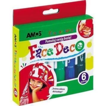 Farby do twarzy 6 kolorów Amos to bezpieczne farby do charakteryzacji w wygodnej formie.