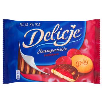 Biszkopty z galaretką wiśniową DELICJE SZAMPAŃSKIE 294g, ulubione ciastka pokoleń Polaków.