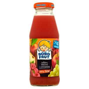 Bobo Frut - Sok jabłko, malina i winogrona po 4 miesiącu. Zdrowy soczek o delikatnym smaku.