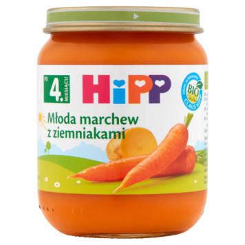 Hipp warzywa - młoda marchew z ziemniakami po 4 mies. Wyprodukowana z ekologicznych warzyw.