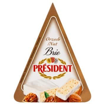Delikatny ser Brie z orzechami - President. Ser pleśniowy z mleka pasteryzowanego.