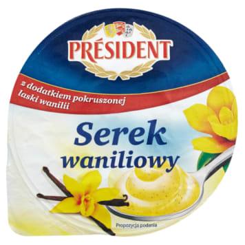 Serek waniliowy - President. Kremowy, delikatny serek o waniliowym smaku.