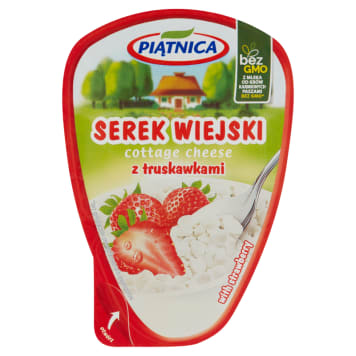 Piątnica serek wiejski z truskawkami to cenne źródło białka i smaczna, szybka przekąska.