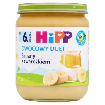 Deser banan-twarożek od 9 miesiąca HIPP  160g - miks kremu twarożkowego z masą owocową.
