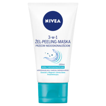 Nivea-Żel, peeling, maska.Pure effect all in 1. Zapewnia pełne oczyszczenie skóry.