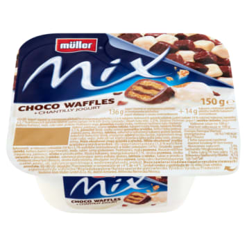 Jogurt o smaku śmietanki wzbogcony jest o kruche wafelki oblane czekoladą. Pysznie smakuje.