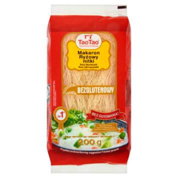 Makaron ryżowy - Tao Tao. Ma postać cieniutkich, półprzezroczystych nitek.