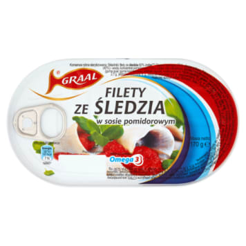 Filety ze śledzia w pomidorach - Graal. Doskonała ryba w aromatycznym sosie pomidorowym.