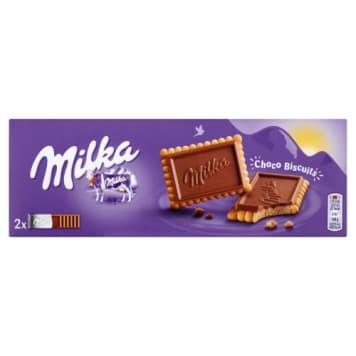 Milka - Herbatniki w mlecznej czekoladzie Choco Biscuit. Chrupiąca przekąska dla miłośników słodkości.