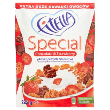 Płatki z czekoladą i truskawkami 225 g – Fitella Special. Płatki z pełnych ziaren zbóż.