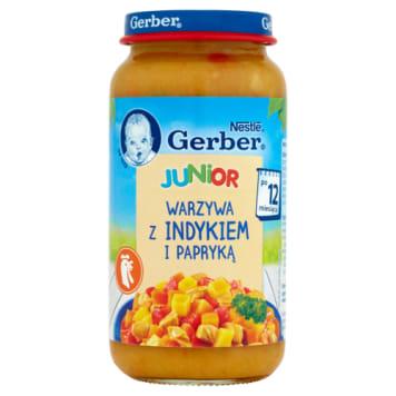 Gerber Warzywa z delikatnym indykiem po 1. roku DoReMi uzupełnia dietę w składniki odżywcze.