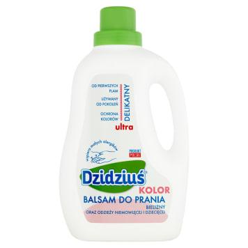 Balsam do prania tkanin kolorowych dla dzieci Dzidziuś chroni kolory, jest bezpieczny dla skóry.