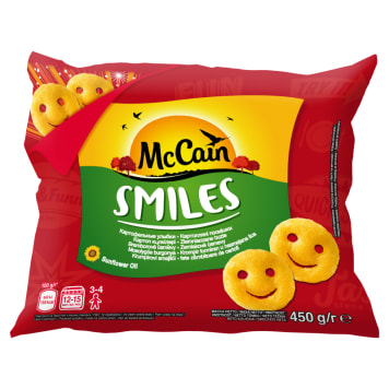 Ziemniaczki buźki mrożone 450g - Mccain Smiles. Doskonały dodatek do wielu potraw.