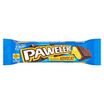 Wedel Pawełek - baton czekoladowy z nadzieniem advocat. Jest oblany gorzką czekoladą.