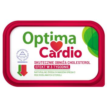Margaryna roślinna - Optima Cardio. Z dodatkiem steroli roślinnych o korzystnym wpływie na zdrowie.