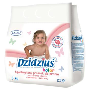 Dzidziuś – Proszek do prania tkanin kolorowych dla dzieci jest delikatny dla wrażliwej skóry.