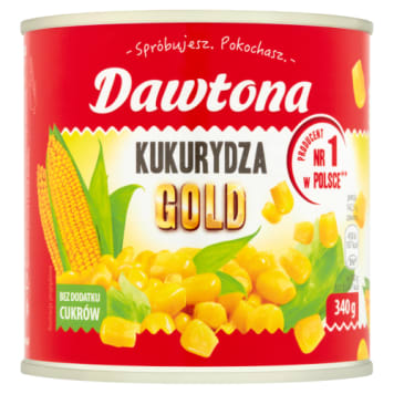 Kukurydza słodka 340 g – Dawtona. Ma charakterystyczny słodki smak.