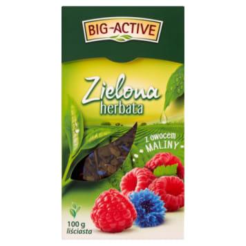 Big-Active - Herbata zielona liściasta z owocem maliny 100g - zdrowy początek dnia