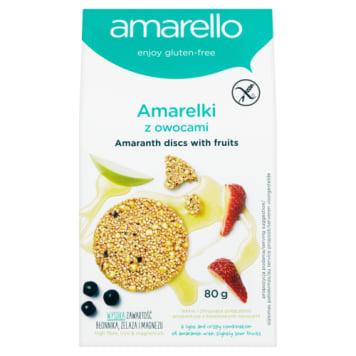Amarelki z owocami ciasteczka AMARELLO BIO 80g - bez glutenu, tłuszczu, jajek, o smaku amarantusa.