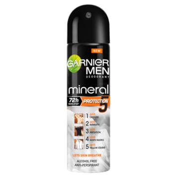 GARNIER Mineral MEN Antyperspirant w sprayu 150ml zapewnia skuteczną ochronę przed poceniem do 72h.