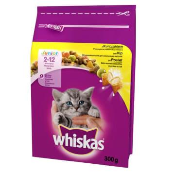 Sucha karma z kurczakiem - Whiskas Junior to zbilansowany posiłek dla wymagających kotów.