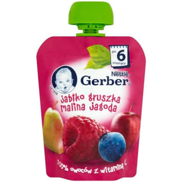 GERBER DESEREK Jabłko gruszka malina jagoda (tubka) - po 6 miesiącu 90g