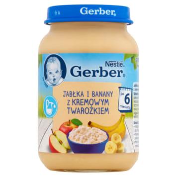 Gerber Deserek Jabłka i banany z twarożkiem po 8 miesiącu to deser dla niemowląt bez konserwantów.
