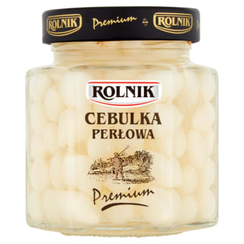 Rolnik Premium-Cebulka perłowa 314 ml. Wyróżnia się delikatnym smakiem i niezwykła chrupkością.