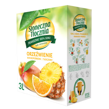 SŁONECZNA TŁOCZNIA Orzeźwienie Sok z jabłek, pomarańczy, ananasa i mango 3l