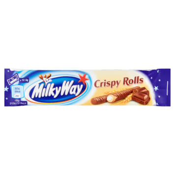 Batonik z rurkami w czekoladzie - Milky Way. Połączenie kruchego wafelka i mlecznej czekolady.