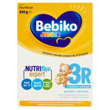 Bebiko Mleko modyfikowane 3R Junior po 12 miesiącu jest źródłem wielu witamin i probiotyków.
