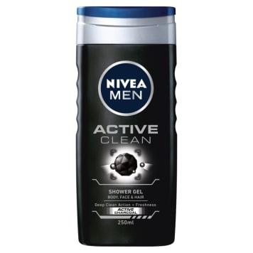 NIVEA MEN Źel pod prysznic Active Clean 250ml - do mycia ciała, twarzy i włosów.