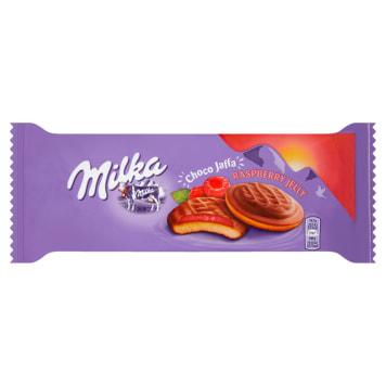 Milka Choco Jaffa Biszkopty z galaretką malinową - łączy w sobie biszkopt, galaretkę i czekoladę.
